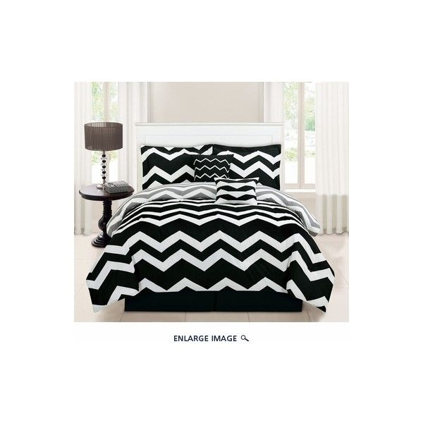 6 Piece Full Chevron Black Comforter Set ($49) ❤ liked on Polyvore featuring home, bed & bath, bedding, comforters, black zig zag bedding, black zig zag comforter, black comforter set, black bedding and black chevron comforter
