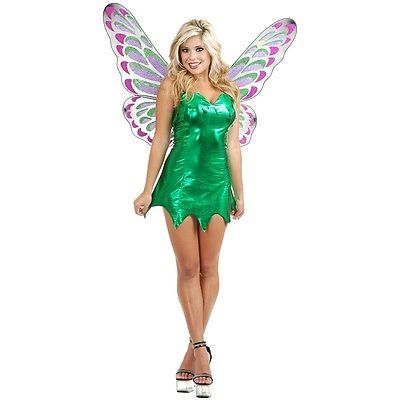 Tinker Bell Costume Adult Tinkerbell Fairy Pixie Peter Pan Halloween Fancy Dress