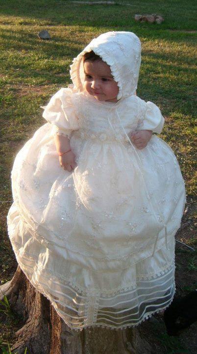 Beautiful baptsim dress. Christening outfit ropon para by Burbvus