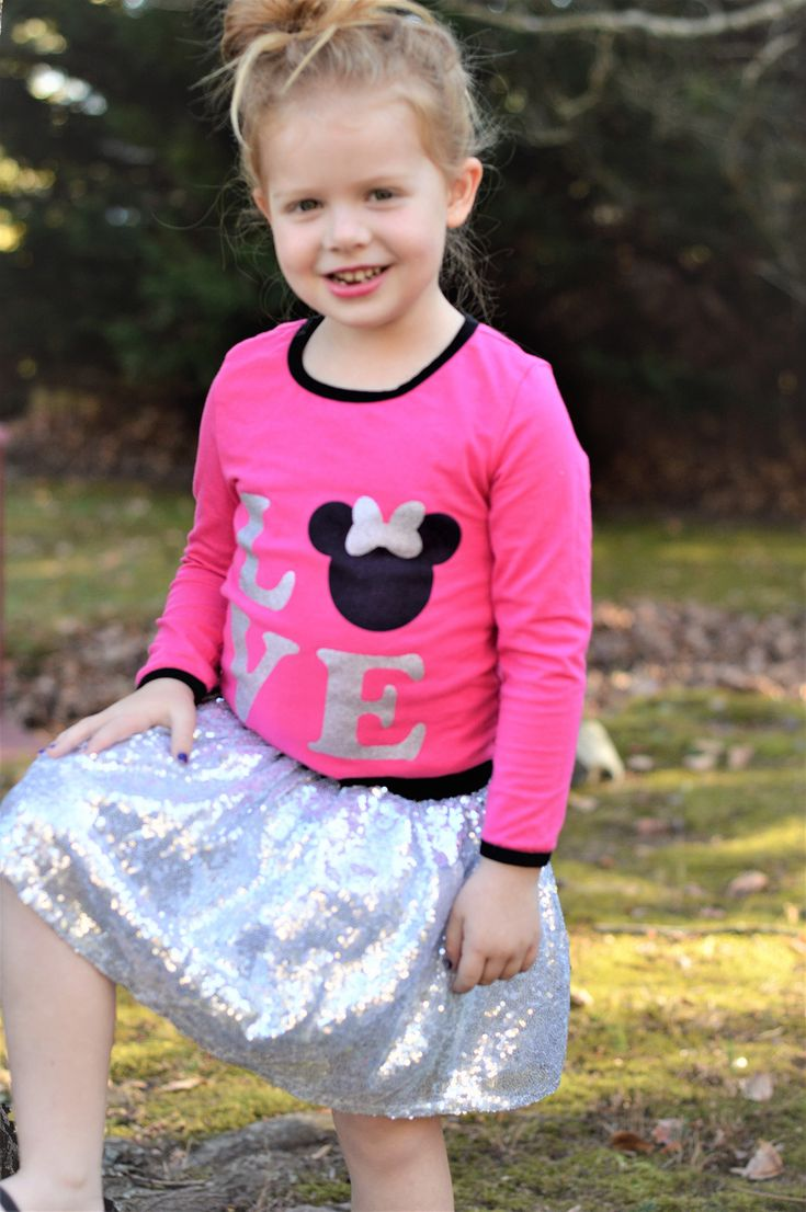 This adorable Love Mouse Top with Silver Sequin Skirt would be perfect for any little girl making a trip to Disney!