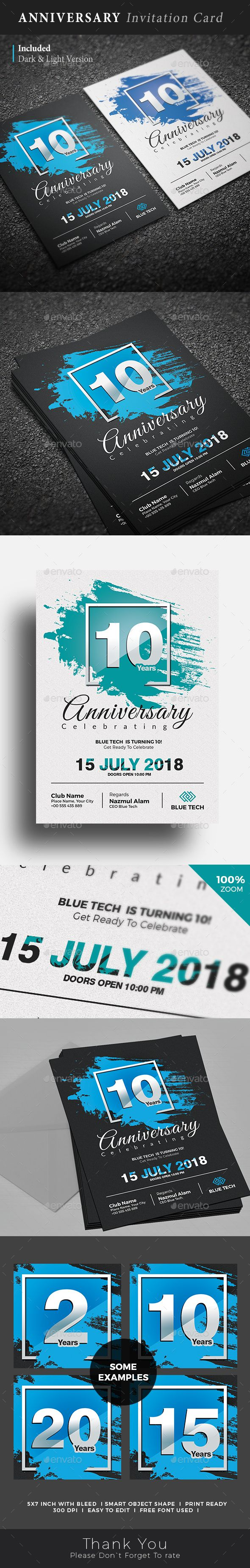Anniversary Invitation Card Template PSD. Download here: https://graphicriver.net/item/anniversary-invitation-card/17365294?ref=ksioks