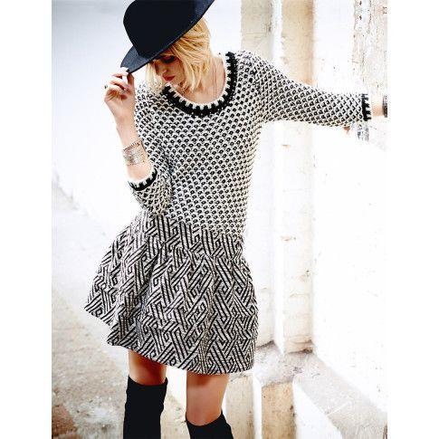 Pullover, zweifarbig, Waffelmuster, Grobstrick Vorderansicht