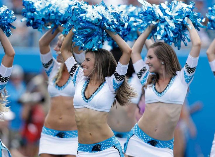 Carolina Panthers cheerleaders perform in the first half of an NFL football game…