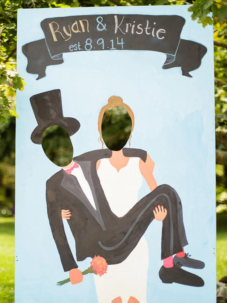 Create funny photos ops with a handmade stand-up newlywed cutout for a funky photo booth substitute that will have your wedding guests rolling!