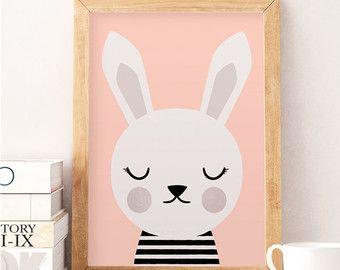 SALE Rabbit print WOODLAND print Cute rabbit by ArtPrintsFactory