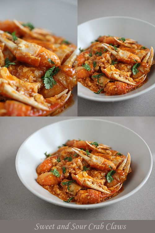 Sweet and Sour Crab Claws - crab claws, ketchup, chili sauce, egg, ginger, garlic, cilantro. #seafood