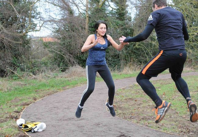 Geordie Shore's Marnie Simpson working out with trainer...