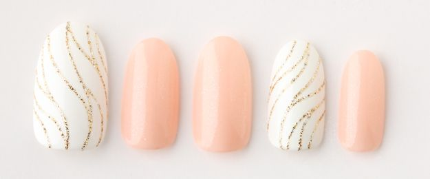White and pink bridal nails with marble swirl gold detail nails by Nail Salon Trish, Meguro, Tokyo