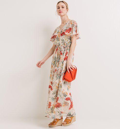 Sukienka maxi nadruk ecru - Promod