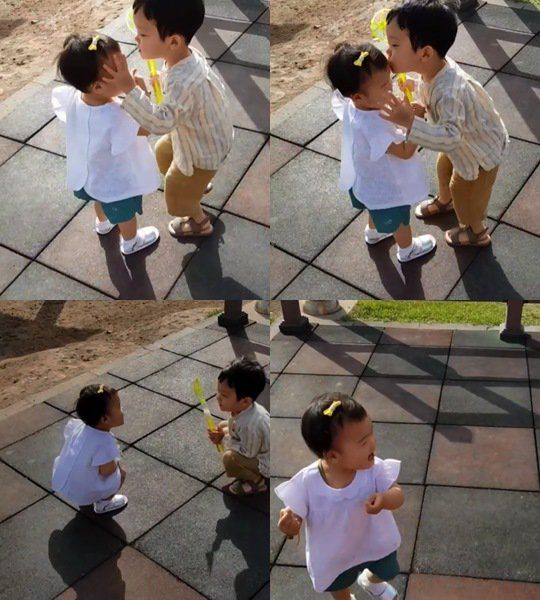 [Photos] Baek Jong-won and So Yoo-jin's children kiss on the forehead