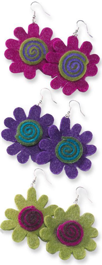 Felt flower/swirl earrings > Earrings > Jewellery > Namaste Home Page > Namaste-UK Ltd