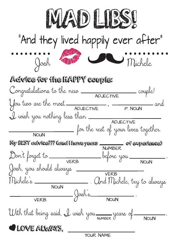 graphic regarding Bridal Shower Mad Libs Printable named Bridal Shower Nuts Libs Guidelines