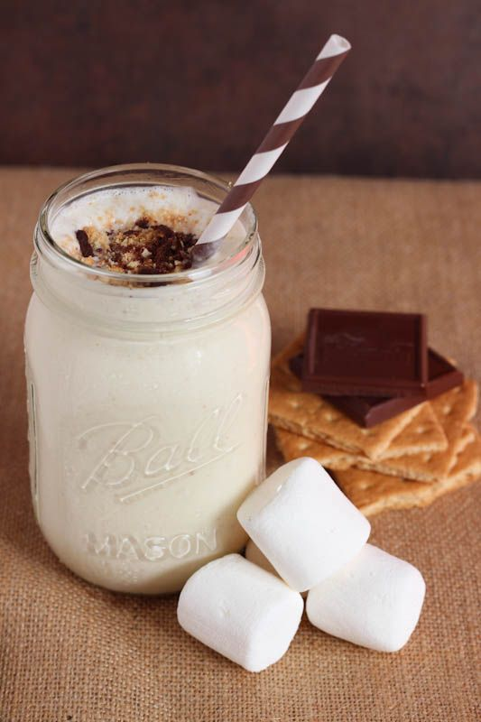 S'mores Milkshake:  5 scoops vanilla ice cream 3 tbsp. whole or 2% milk 1 tbsp. greek yogurt 6 jumbo marshmallows graham cracker crumbs, for topping shaved chocolate, for topping