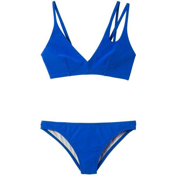 Araks Elias Bikini (400 CAD) ❤ liked on Polyvore featuring swimwear, bikinis, blue, metallic bikini swimwear, blue bikini, araks swimwear, strap bikini and strappy bikini swimwear