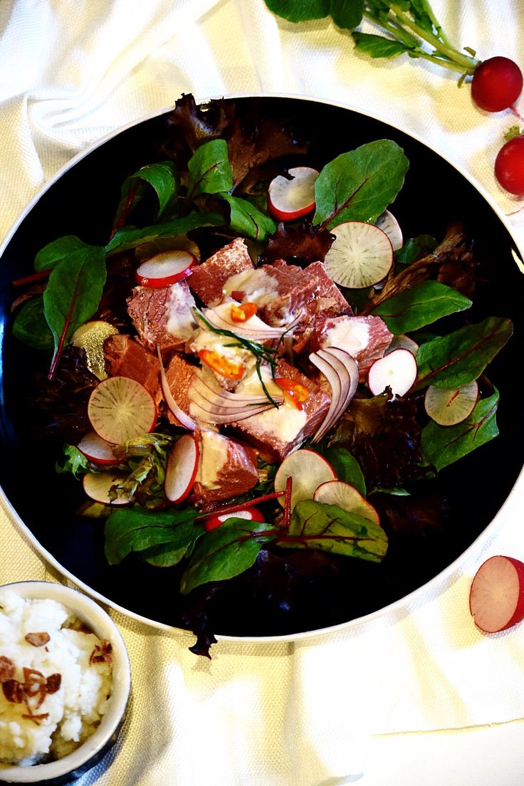 Corned beef with coconut - chilli & tamarind dressing.