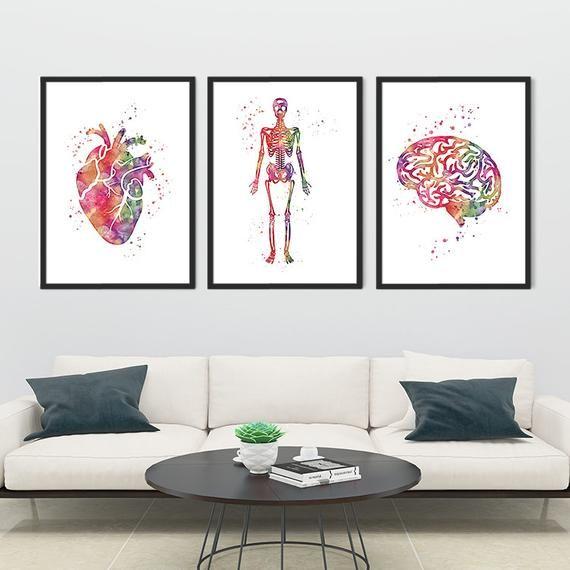 Uterus Watercolor Print Human Anatomy Art Clinic Decor Medical Art OBGYN Doctor