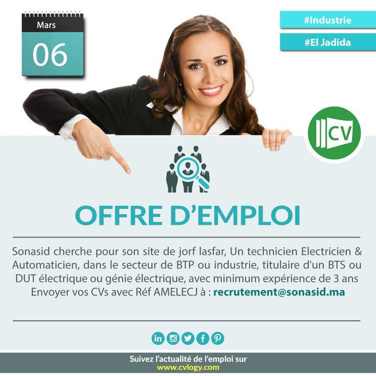 #Emploi_ElJadida, #Recrutement_ElJadida, #BTP, #Emploi_Industrie, #Recrutement_Sonasid  Commandez notre #Design_CV: www.cvlogy.com/design-cv/
