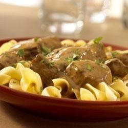 Streamlined in method but not in taste, Swanson(R) Beef Broth gives this sauteed beef and mushroom recipe full hearty flavor -- plus the noodles cook right in the broth!