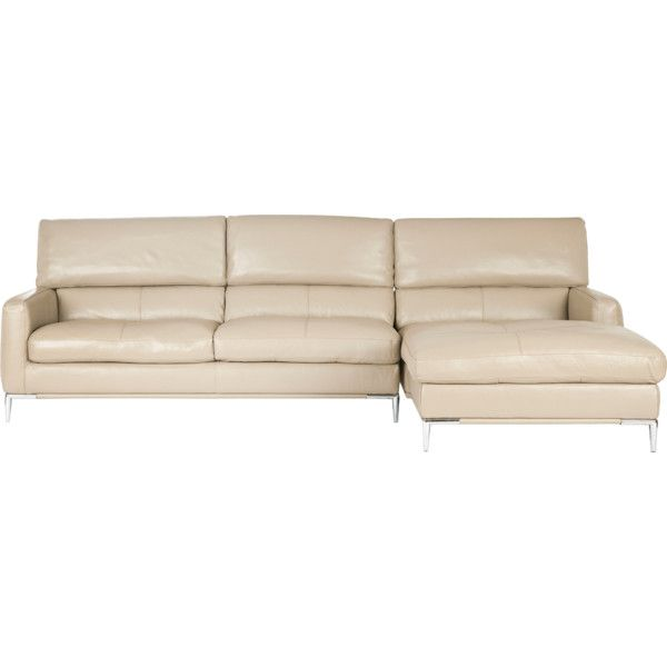 Regency collection rakel ivory leather sectional sofa for Breezy beach chaise