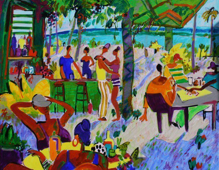 Titulo : Billar en playa Cosòn Tècnica : Oleo sobre lienzo . 160 x 160 cm.