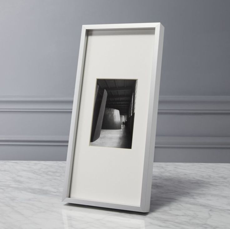 Shop gallery brushed silver 4x6 picture frame.  Brushed aluminum frames white mats for gallery presentation of photos or images.