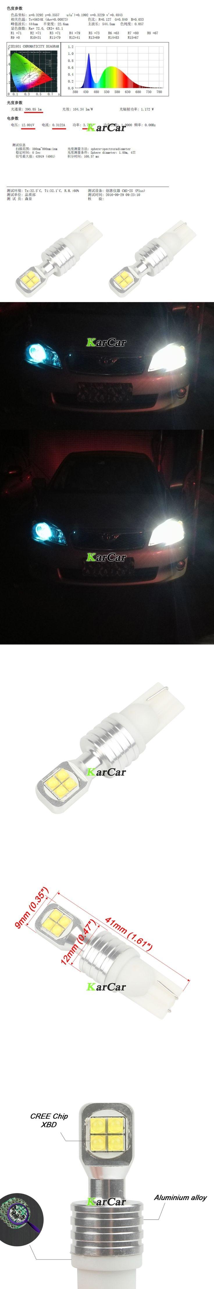 2x New 40W CREE Chip XBD 390LM T10 194 W5W LED Reverse Bulb 912 Clearance Light 161 Tail Lamp, 12V 168 Brake Light 921 Stop Blub