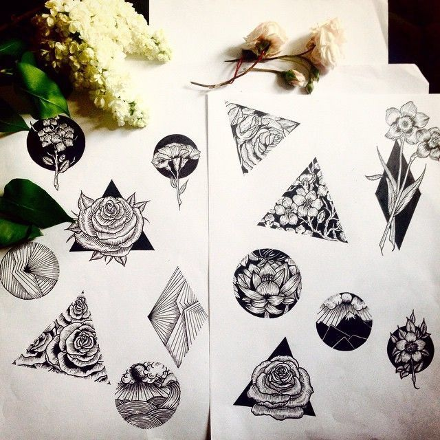 Flowers in triangles drawing in pen
