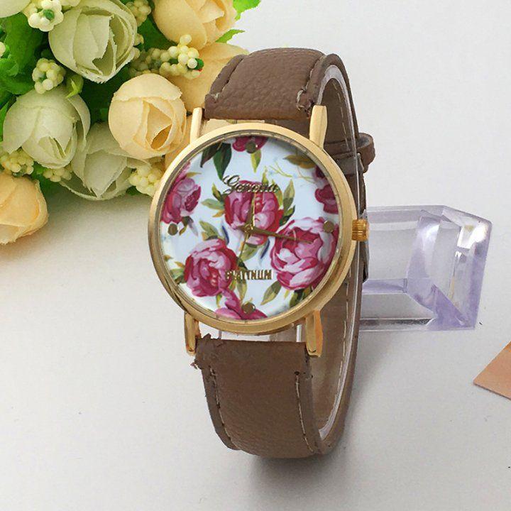 OT03167 Chinese style rose-red female watch peony Geneva watch
