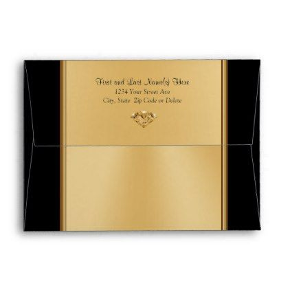 Black and Gold Envelopes for Anniversary Birthday - birthday cards invitations party diy personalize customize celebration