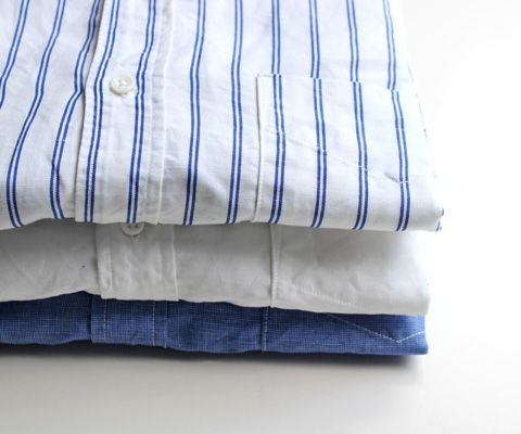 A Vontade Banded Collar Shirts -Cotton Linen Chambray-