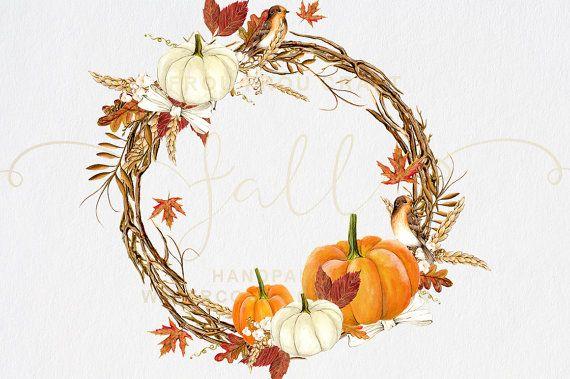 Fall Clip Art Autumn Clipart Watercolor Pumpkin от froufroucraft
