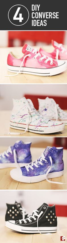 When you put on a pair of Converse, you're making a statement: You're carefree. You're cool. You're one of a kind. To kick your Converse style up a notch, try personalizing your favorite pair! From sassy studs to splashy bleach designs and out-of-this-world galaxy patterns, we have a few ideas to get you started. Check out our quick how-to video!