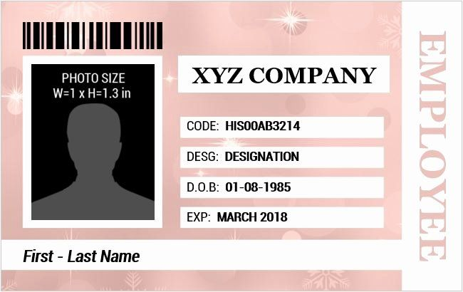 Id Card Template Word Unique Employee Identification Card Templates Ms Word Free Business Card Templates Id Card Template Business Card Template Design