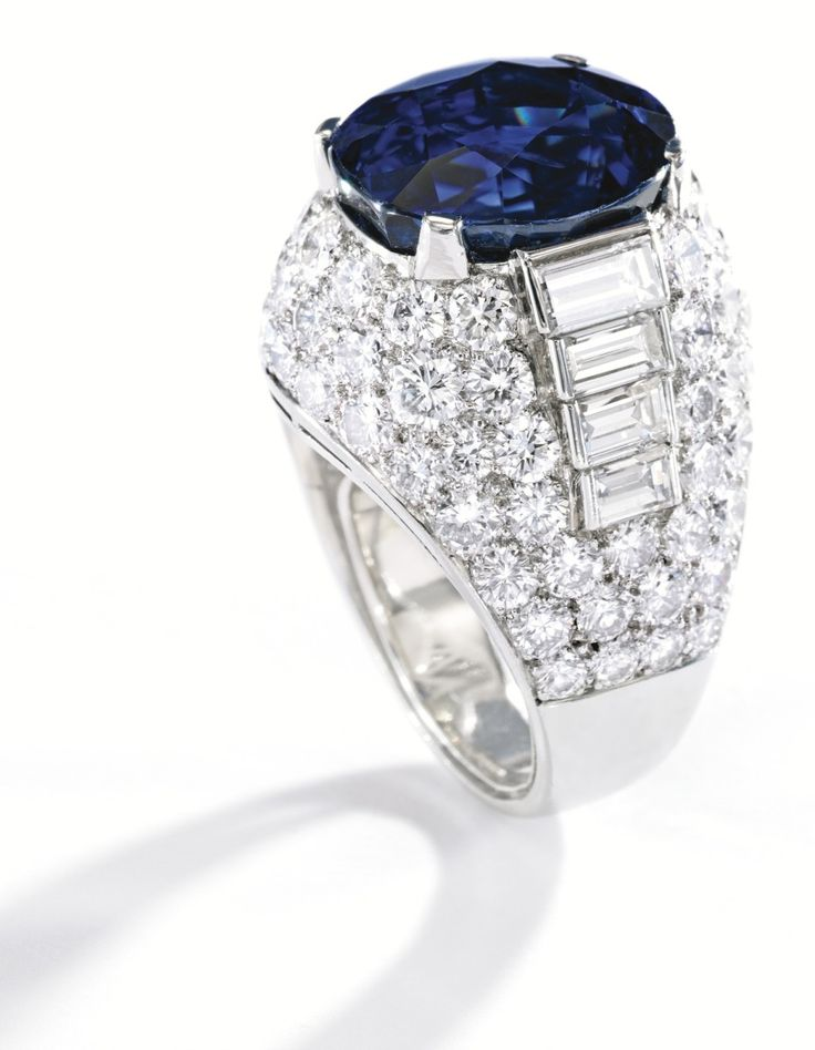 platinum sapphire and diamond ring bulgari centered by an ovalshaped sapphire weighing carats the mounting set with round and baguette
