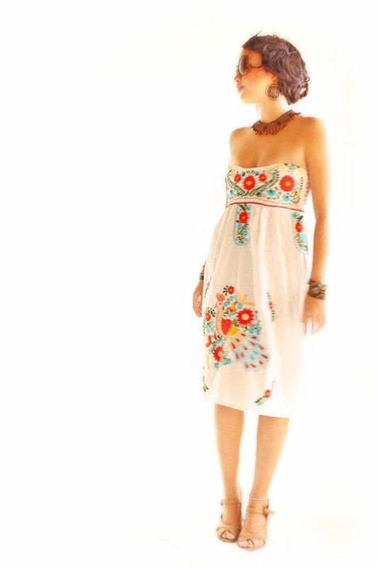 Birds y Nubes colorful Mexican vintage embroidered dress peacock turquoise and coral red
