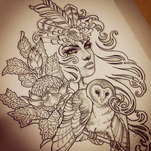 Blüten | Blätter | Kopfschmuck | Eule | Frau | Woman | Knospen | Haare | Gesicht | Face | Womanface | Frauengesicht | Blatt | Tattoovorlage | Tattoo | Vorlage | Design