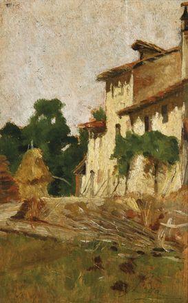 Lega Silvestro : Casa colonica con pagliaio (Cascinale) ((1880 circa)) - Olio [..]