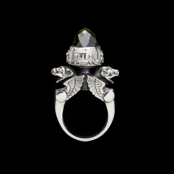 Sterling Silver Winged Gargoyle Urn Ring by MetalCoutureJewelry, $880.00