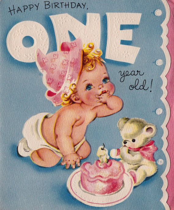 Vintage Happy Birthday One Year Old Greetings By Poshtottydesignz