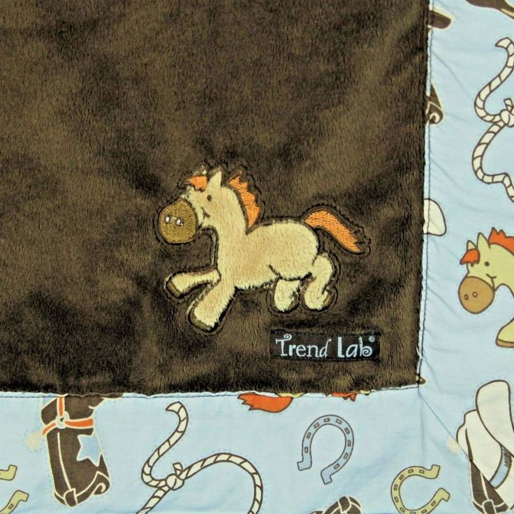 Trend Lab Baby Blanket Cowboy Horse Bronco Brown Blue Plush Security Stroller #TrendLab