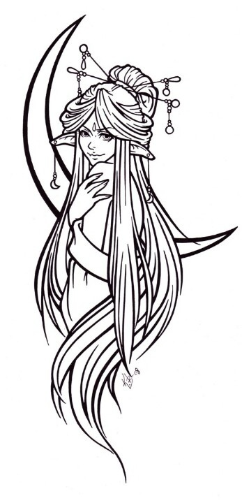 Luna tattoo lineart by blueundine find this pin and more on pagan colouring pages