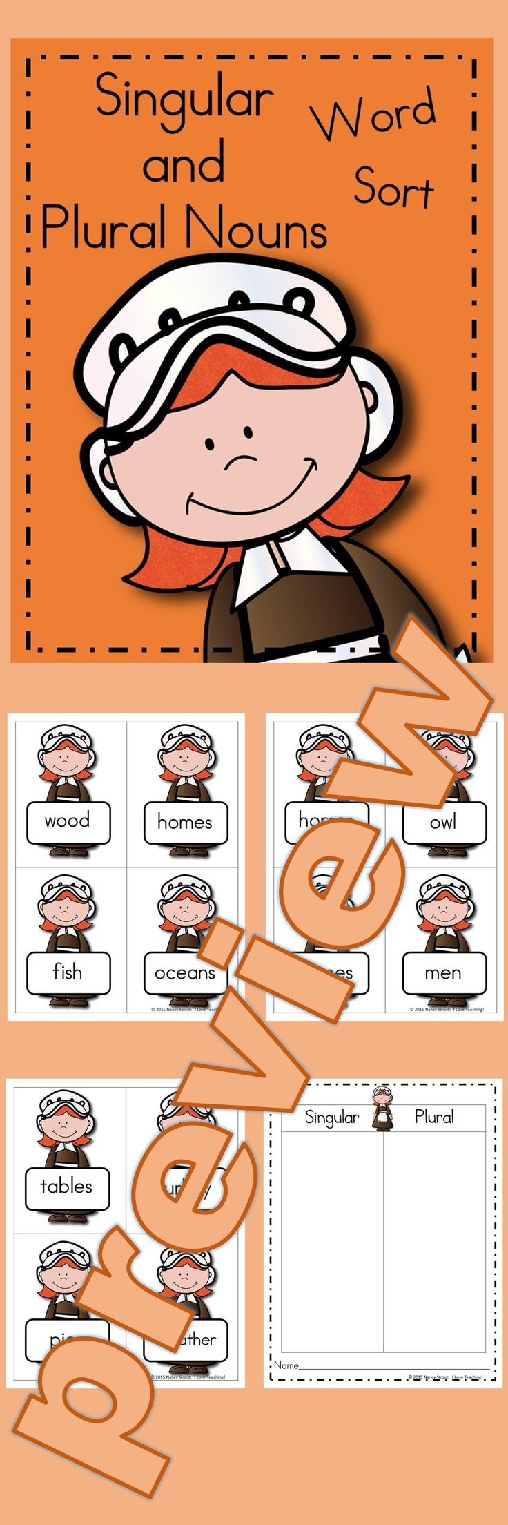 Singular and Plural Nouns Word Sort: Looking for a fun activity for the Thanksgiving Season?? This fun singular and plural nouns word sort is just what you need! I have included 24 singular and plural nouns that your students can sort. Once they are sorted, students write them down in the proper column on their response sheet. This word sort is in color as well as, black and white. You can use this word sort in a center, for early finishers, or to play scoot.