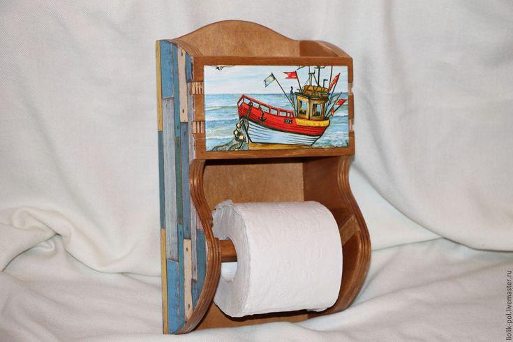 """Купить Держатель для туалетной бумаги)))""""Заброшенный корабль"""" - синий, туалет, ванная комната, ванная, держатель для бумаги"""