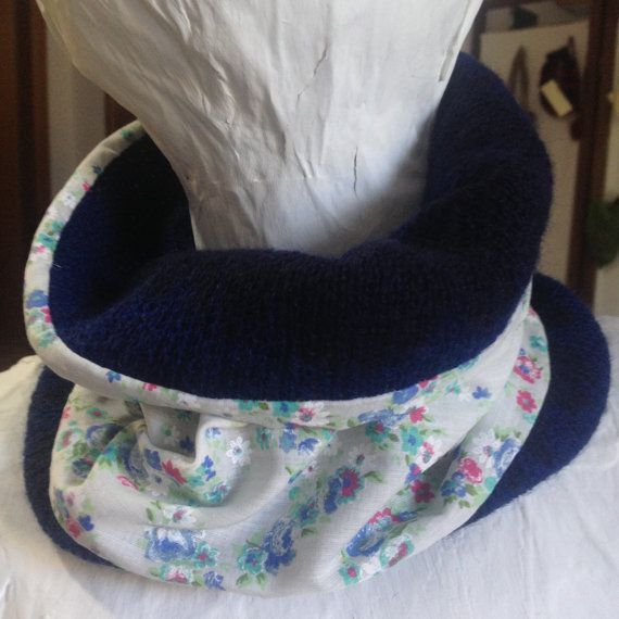 Neckwarmer cowl scarf Handmade blue double sided by PixiesFairies