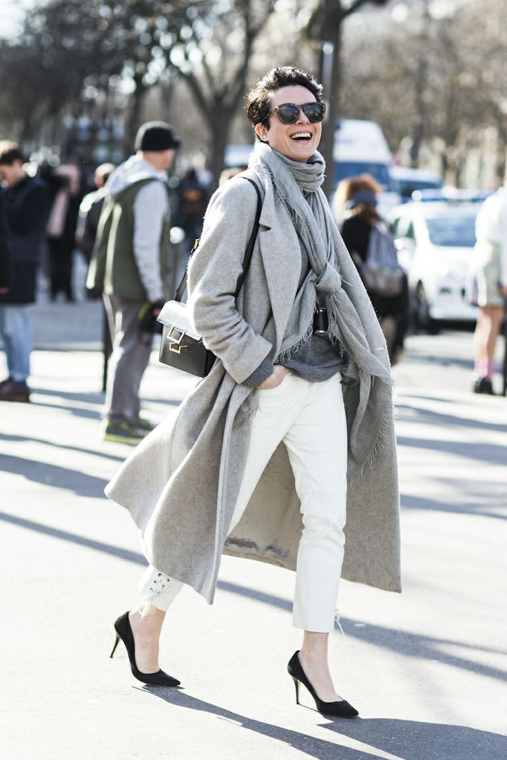 Layered greys. Again, see how the ankle length on the pant is nice.  I could do flats.  Must look for ankle length pants!