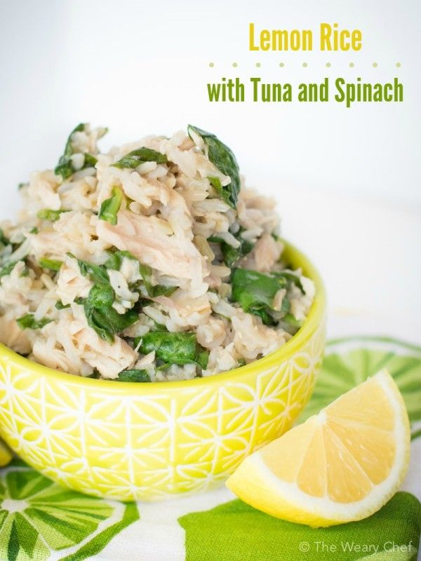 Lemon Rice Recipe with Tuna and Spinach is one of my easiest and healthiest dinners ever!