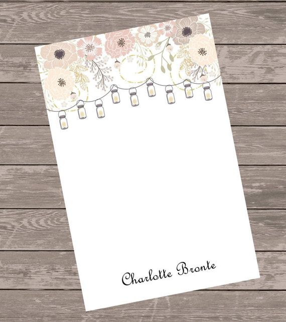 custom floral note pad  custom notepad by NoteWorthyStationery