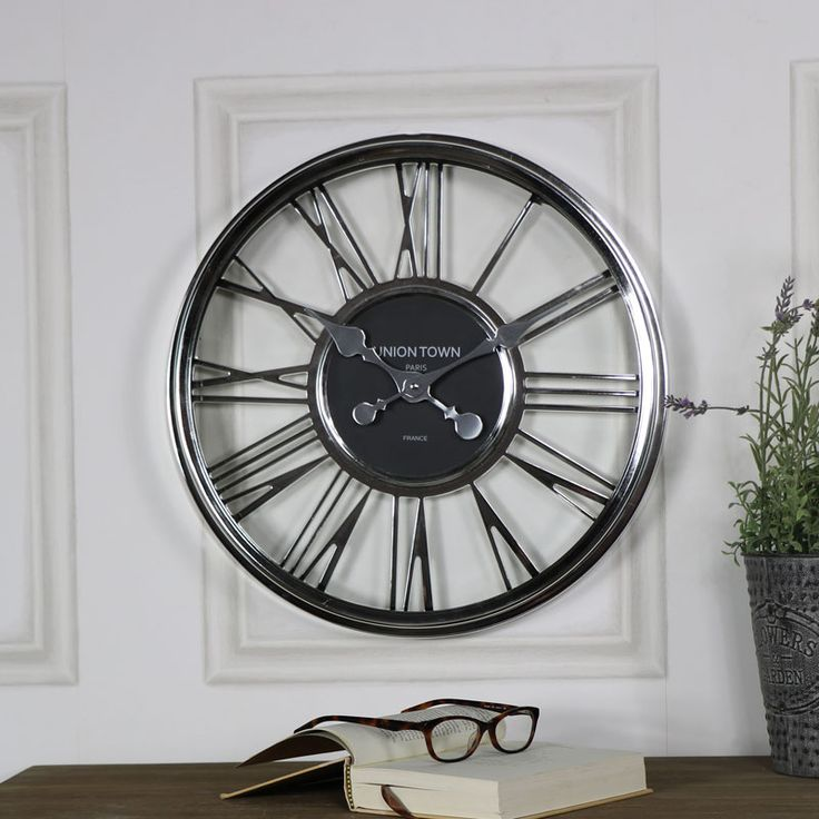 Large Silver Wall Clock  #interiordesign #interiordecor #boho #homedecor #homeinspiration #interiorinspiration #rustic #rusticdecor #rusticinterior #industrialinterior #scandinaviandesign #vintage #vintagestyle #myhome #retro #shabbychic #vintagehome #vintage #french #seating #myinterior #decor #instahome #clock