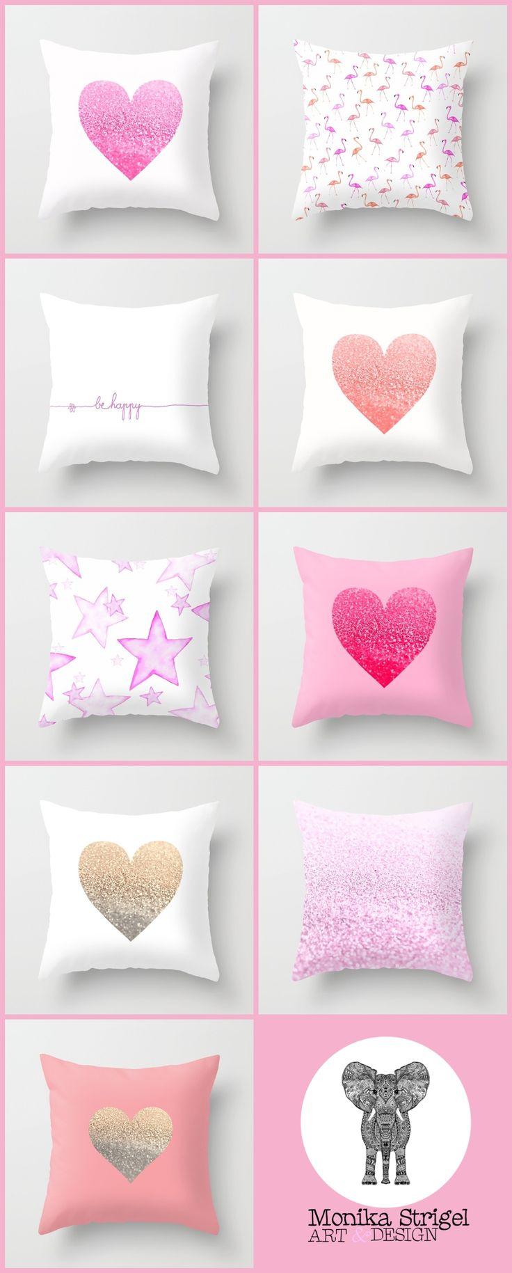 THE MIX & MATCH PINK PILLOW COLLECTION by Monika Strigel - Society6 #pink #softpink #hotpink #pillow #throwpillow #cover #cushion #heart #flamingo #happy #stars #glitter #coral #monikastrigel