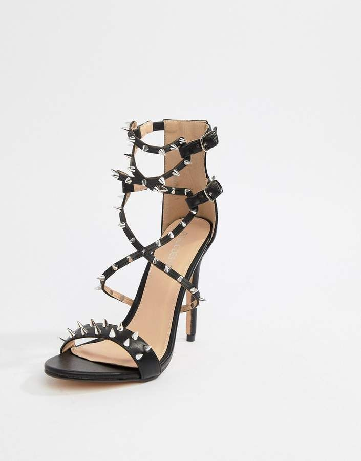 f942460e55b  49.00 -  Public  Desire Amore black studded heeled sandal -  Sandals by  Public